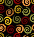 Seamless background with spirale motif in autumn colors on the black area Royalty Free Stock Photo