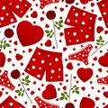 Seamless background by st valentine s day Stock Photos