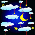 Seamless background with stars and clouds Royalty Free Stock Photos