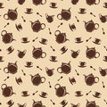 Seamless background with teapots and cups vector illustration pattern brown silhouettes of spoons milk jugs on a beige Royalty Free Stock Photos