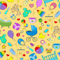 Seamless background on the theme of childhood and newborn babies, baby accessories, accessories and toys, simple color icons on ye