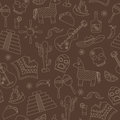 Seamless background on the theme of recreation in the country of Mexico, contour icons on a brown background