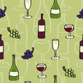 Seamless background tile with a cartoon style wine bottles glasses and grapes please note this vector is eps it uses Royalty Free Stock Images