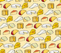 Seamless background tile with a variety of cheeses drawn in a cartoon style Stock Photography