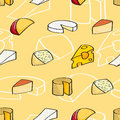 Seamless background tile with a variety of cheeses drawn in a cartoon style Royalty Free Stock Image
