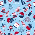 Seamless background to the day of independence of the USA. Seamless pattern for Independence Day - USA national holiday Fourth of Royalty Free Stock Photo