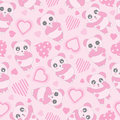 Seamless background of Valentine`s day illustration with cute baby pink panda and love shape on pink background