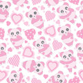 Seamless background of Valentine`s day illustration with cute baby pink panda and love shape on polka dot background