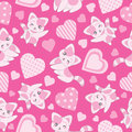 Seamless background of Valentine`s day illustration with cute pink cat and love shape on pink background Royalty Free Stock Photo