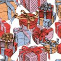Seamless background of the various gifts boxes