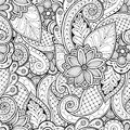 Seamless background in vector with doodles, flowers and paisley. Royalty Free Stock Photo