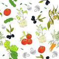 Seamless background with vegetables Royalty Free Stock Photos