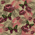Seamless background with vintage roses and butterflies hand dra drawing vector Stock Photos