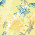 Seamless background with water lilies, dragonflies Royalty Free Stock Photography
