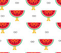 Seamless background of watermelon and glasses
