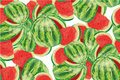 Seamless background with watermelon slices. Vector illustration.