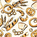 Seamless background on which bread, rolls, pretzels, bagels, wheat spikelets, rye spikelets