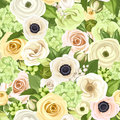 Seamless background with white, yellow and green flowers and leaves. Vector illustration. Royalty Free Stock Photo
