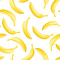 Seamless background with yellow bananas on a white Stock Images