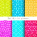 Seamless backgrounds in arabian style made of emboss geometric shapes. Islamic traditional pattern.