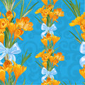 Seamless backround from spring yellow crocuses blue Stock Photo