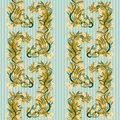 Seamless banner with wheat and flowers in art nouveau style