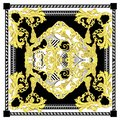 Seamless baroque with white black gold color scarf