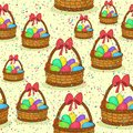 Seamless, Basket with Easter Eggs Royalty Free Stock Photo