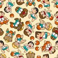 Seamless basketball pattern Stock Photography
