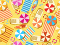 Seamless beach, top view. Chaise lounge with umbrella, surfboard, flip-flops and bedspreads. Beach vacation. Vector Royalty Free Stock Photo