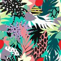 Seamless beautiful artistic bright tropical pattern with banana, Syngonium and Dracaena leaf, summer beach fun