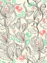 Seamless beautiful pattern with flowers and birds Royalty Free Stock Photos