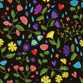 Seamless beauty floral vector pattern on dark background in cartoon style Royalty Free Stock Photo