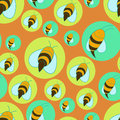 Seamless bees background with cartoon Stock Photo