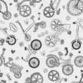 Seamless bike pattern cartoon vector illustration Royalty Free Stock Images