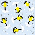 Seamless bird pattern,cartoon vector illustration Royalty Free Stock Photo