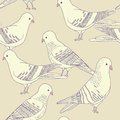Seamless bird pattern vector with pigeon birds Stock Photo