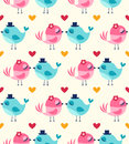 Seamless birds in love wallpaper Royalty Free Stock Photo