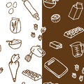 Seamless birthday cake ingredient pattern background Royalty Free Stock Images