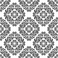 Seamless black damask pattern on the white background is presented Stock Photo
