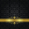 Seamless black floral wallpaper and gold ribbon Royalty Free Stock Photo