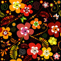 Seamless black flower pattern Stock Photos