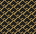 Seamless black and gold square art deco pattern Royalty Free Stock Photo