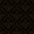 Seamless black with gold stripe floral background Stock Images