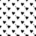 Seamless black hearts with arrows simple flat design. Silhouettes hearts on white background. Vector illustration Royalty Free Stock Photo