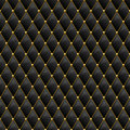 Seamless black leather texture with gold metal details. Vector leather background with golden buttons