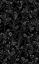 Seamless black pattern with white flowers Stock Photos