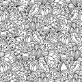 Seamless black and white background. Floral, ethnic, hand drawn elements for design. Royalty Free Stock Photo