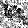 Seamless black and white background with roses Royalty Free Stock Photography