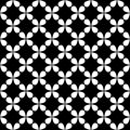 Seamless black and white curved star pattern - halftone vector background